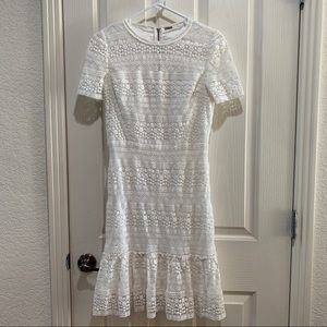 Elie Tahari Crochet White Dress Small SS Gorgeous